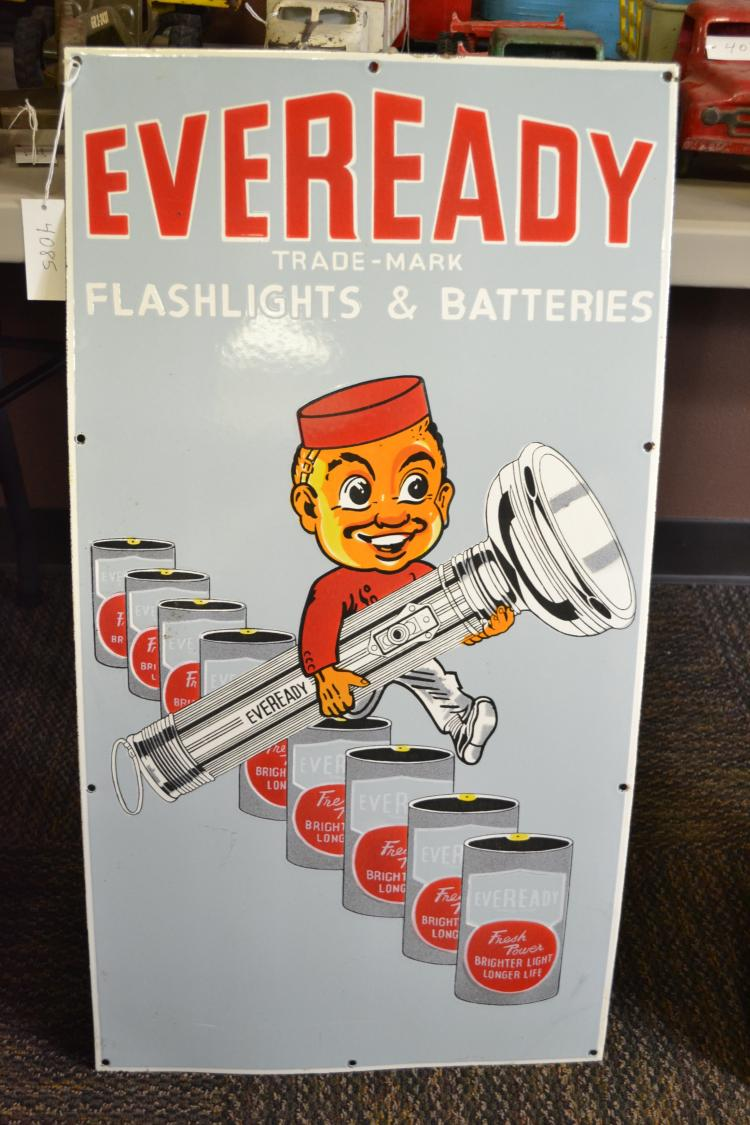 Antique Porcelain Enamel New Old Stock Eveready Flashlights And Batteries Large Sign