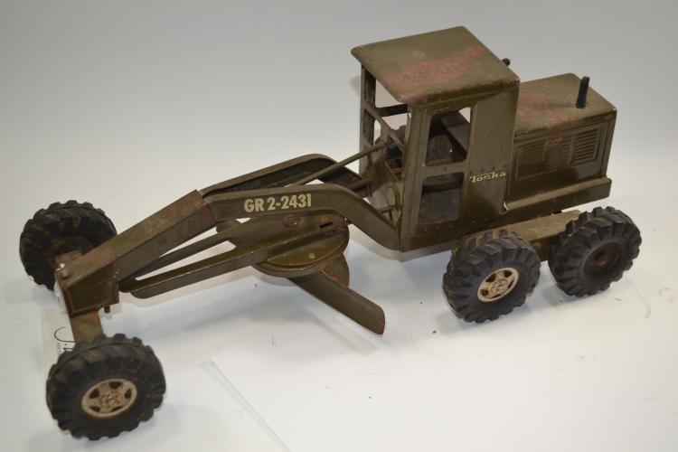 Vintage Tonka Army Green Gr Ii - 2431 Road Grader Tractor
