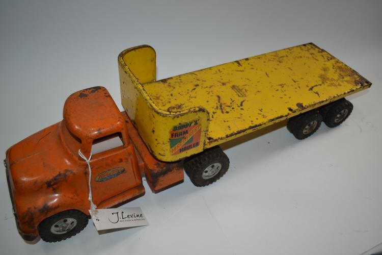 Antique Tonka Toys And Buddy L Farm Machinery Hauler Pressed Steel Flatbed Truck And Trailer