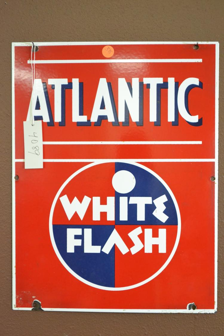 Antique Porcelain Enamel Atlantic White Flash Advertising Sign