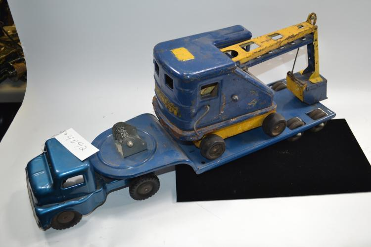 Vintage Blue Structo Equipment Hauler Pressed Steel Semi Truck And Trailer With Automatic Scoop Power Shovel