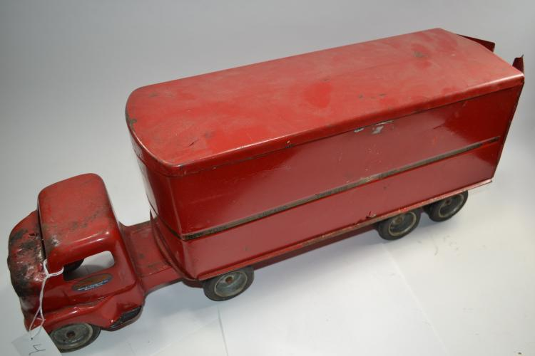 Antique Tonka Toys Pressed Steel Mound Metalcraft Inc Moving Semi Truck And Trailer