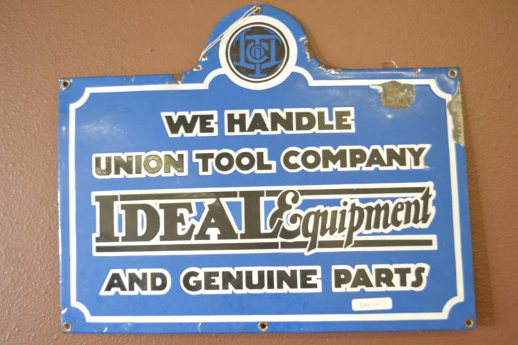 Antique Porcelain Enamel Union Tool Company Ideal Equipment Genuine Parts Sign