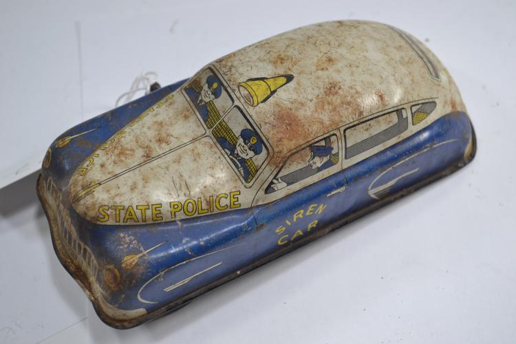 Vintage Tin Litho State Police Chief Wind Up Toy Siren Car