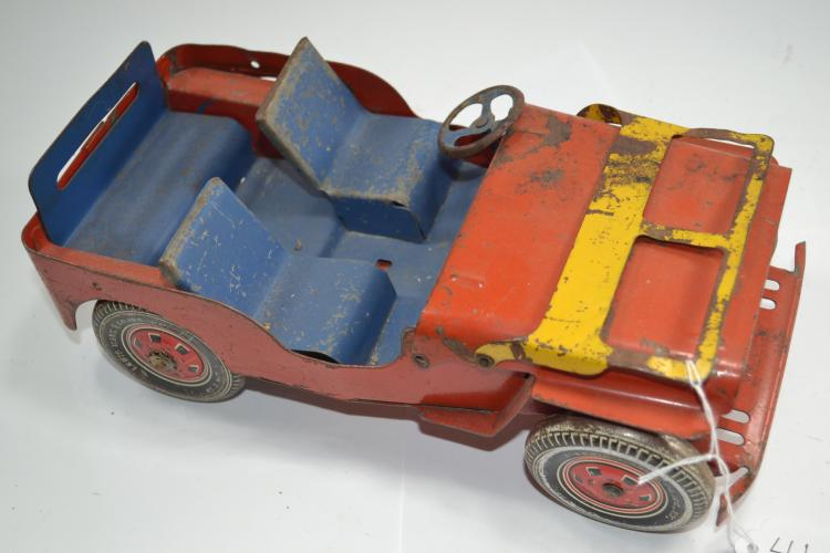 Vintage Louis Marx & Co Pressed Steel Toy Jeep