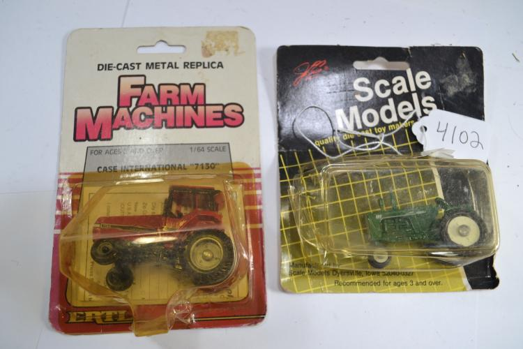 Vintage Japan Tin Toy Grader Ertl Tractor And Life Like Ho Scale Car