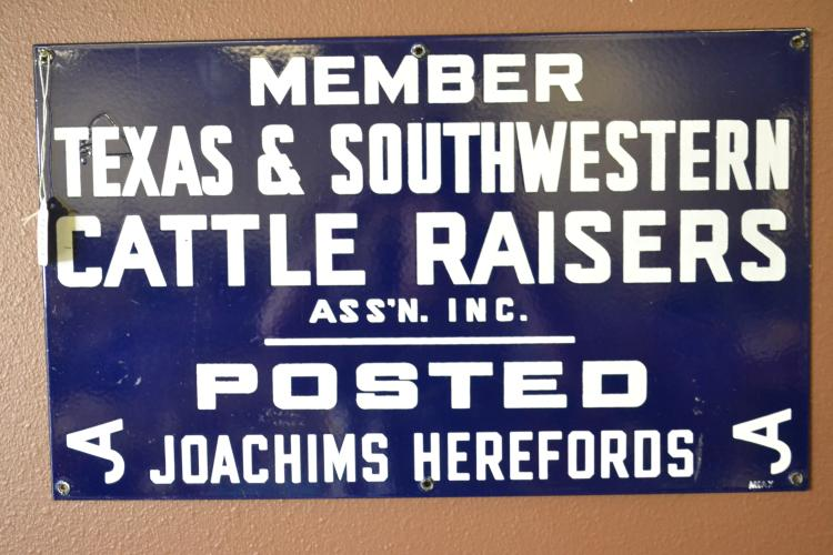 Antique 1930S Posted Joachims Hereford Porcelain Enamel Member Texas And Southwestern Cattle Raisers Assn Sign