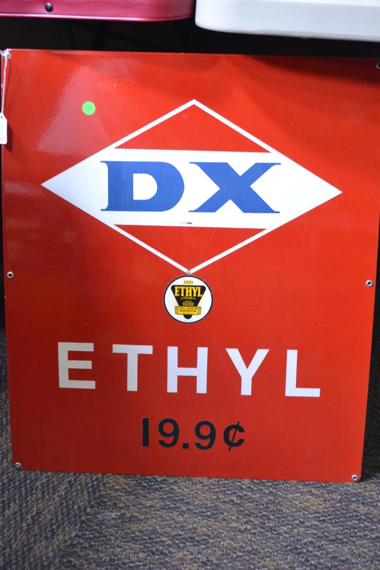 Antique Dx Fuel Ethyl Gasoline Corporation 19.9 Cents Porcelain Enamel Advertising Sign
