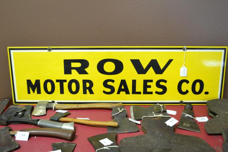 Antique Porcelain Enamel Double Sided Row Motor Sales Co Advertising Sign