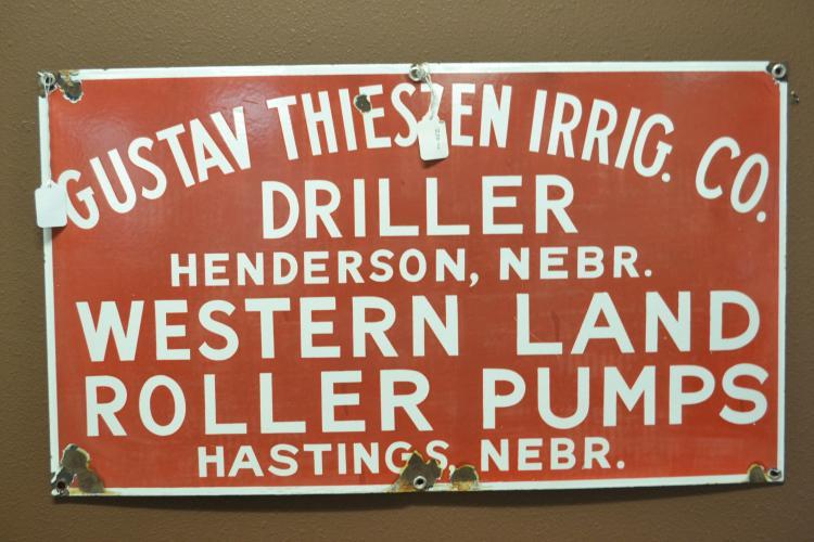 Antique 1930S Porcelain Enamel Gustav Theiszen Irrig Co Driller & Western Land Roller Pumps Nebraska Sign