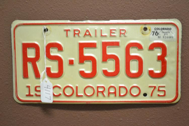 1975 Colorado Rs - 5563 Trailer License Plate