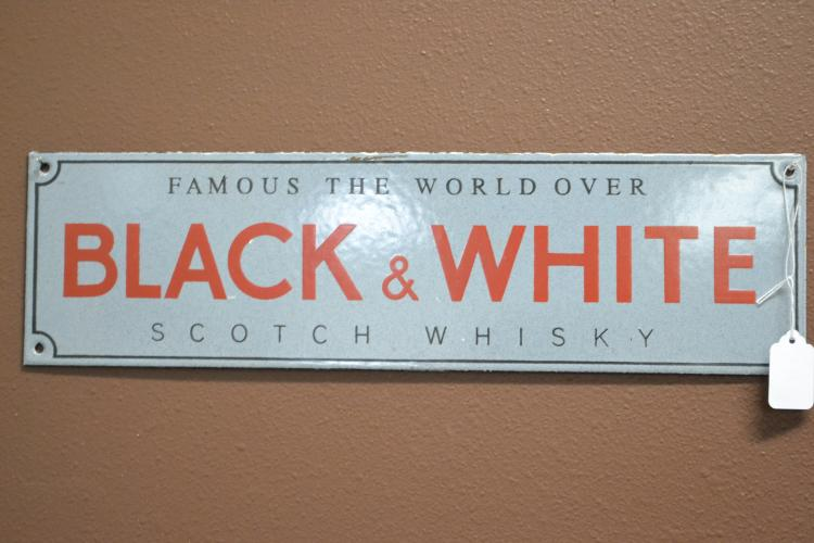 Antique Porcelain Enamel Famous The World Over Black & White Scotch Whisky Advertising Sign