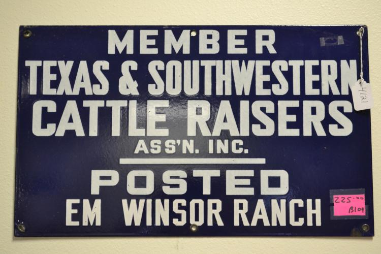 Antique 1930S Porcelain Enamel Posted Em Winsor Ranch Member Texas And Southwestern Cattle Raisers Assn Sign