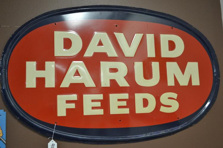 Vintage Large David Harum Feeds Advertising Store Sign 47X29 Inches By Stout Sign Co