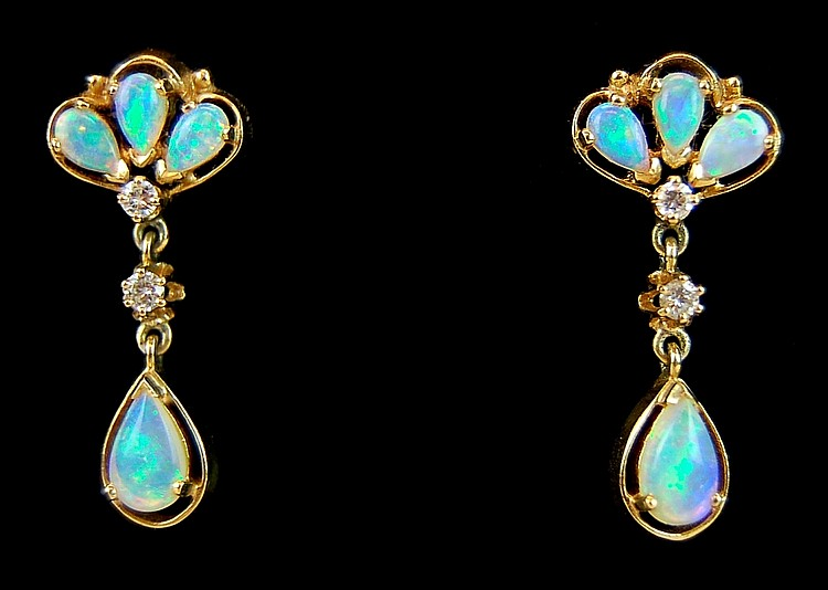 14k Gold Opal & Diamond Dangle Earrings