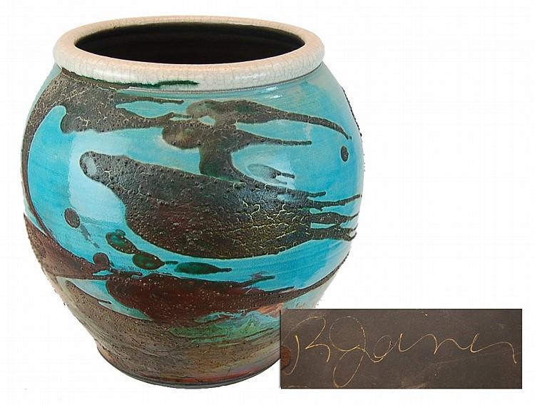 Signed Wheel Thrown Raku Pottery Ceramic Vessel