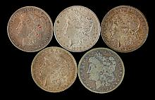 5 Circulated Morgan Silver Dollar