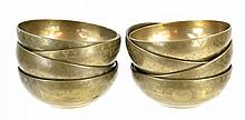 8 Vintage Asian Solid Brass Yin Yang Floral Bowl
