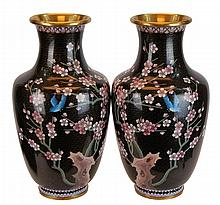 PAIR Chinese Brass Cloisonne Vase Lot