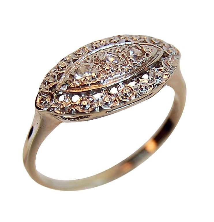14k Gold Diamond Trio Ring