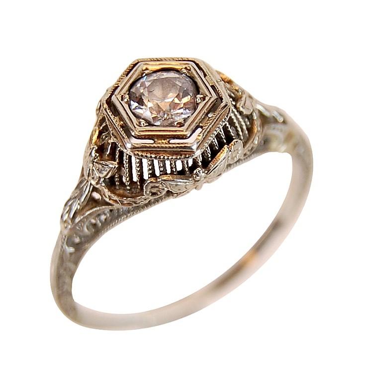 PAIR 14/10k Vintage Art Deco Ring, (1) w/ Diamond