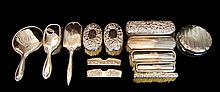 (13) Pcs Sterling Silver Vanity Set: Brush, Mirror, Comb Cover, Hair Receiver