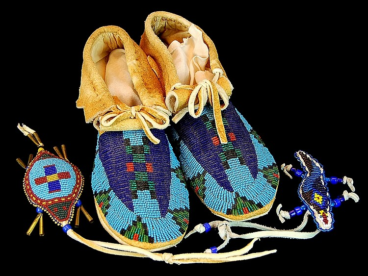 Native American Beaded Moccasins, Tortoise, Lizard