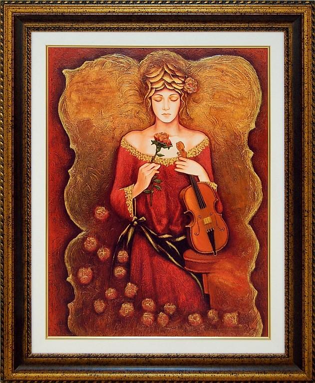 Charles Lee (ne 1948) Giclee, Female w/ Florals