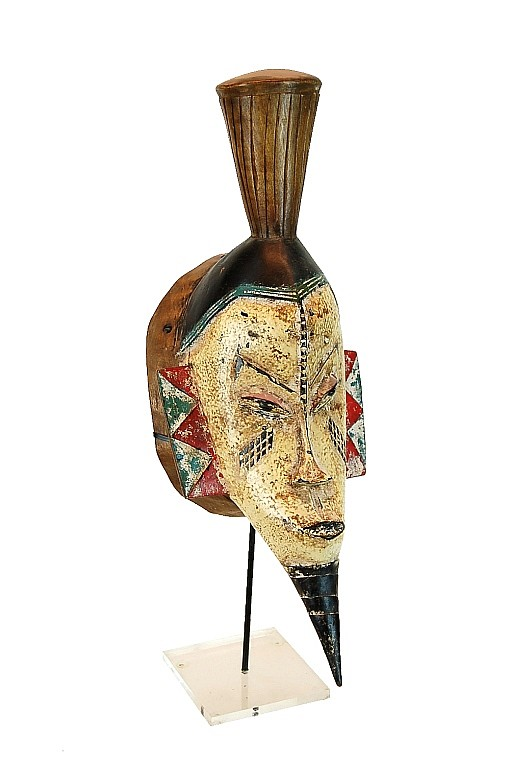Vintage Guro African Carved Polychrome Mask
