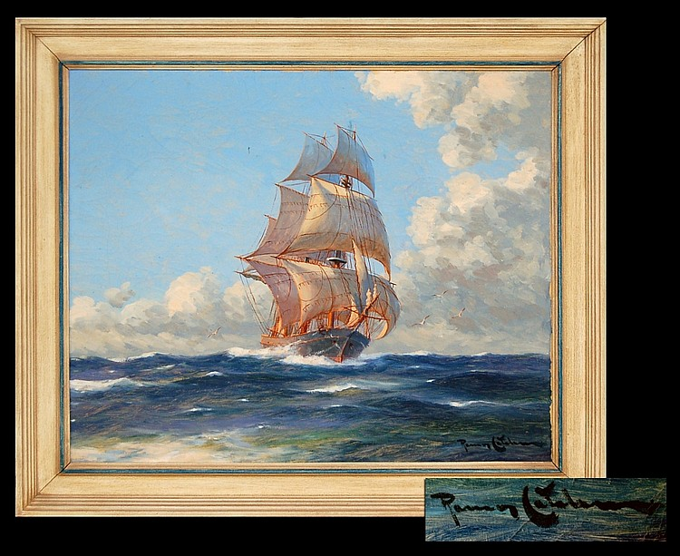 Benito R. Catalan (1888-1961) Oil Painting, Ship