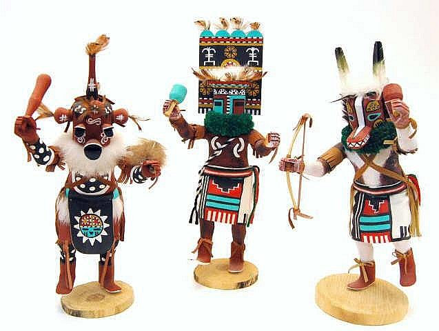 Signed Mud Head, Badger, & Soi Hemis Kachinas