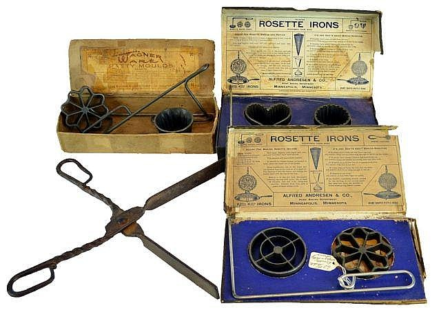 Rosette irons & wrought iron pipe tongs.