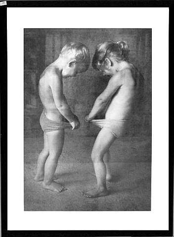 Framed print of two kids, 21.5