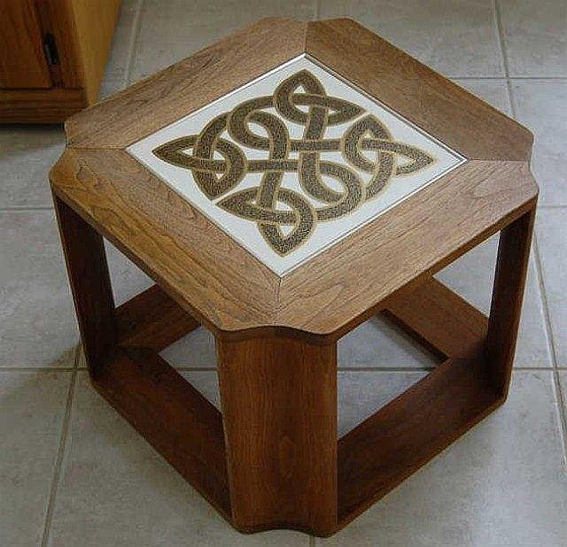 Wooden Side Table With Celtic Inlaid Tile Top