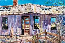 """Tom Hill (1925-)""""Settling Down"""" Watercolor Painting"""