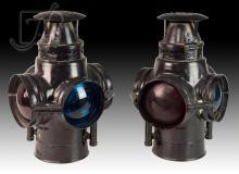 2 Pc. Vintage Adlake Railroad Signal Lantern Lot