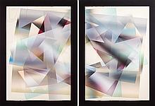 Stanley Migas (20th C.) Diptych Monoprint Pair