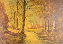 Signed Autumn River Bank Oil Painting