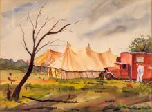 20th C. Circus Tent Landscape Watercolor