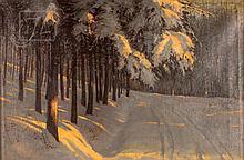 Carl Fleege (1871-) Snowy Landscape