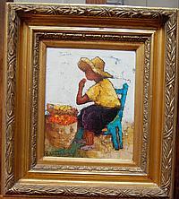 "VANDENBULCKE Roger (né en 1921) : ""Marchande d'oranges"" Huile sur toile (27x22) SBG"