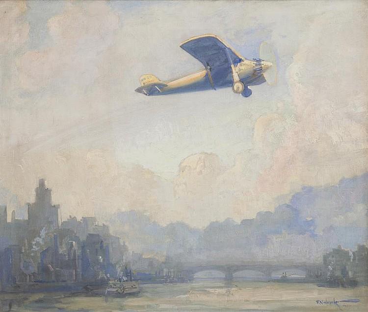 Frank B. Nuderscher, American (1880-1959), Spirit of Saint Louis, oil on canvas, 34 x 40 inches
