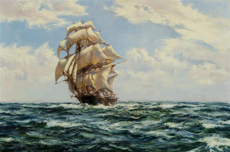 Montague Dawson, English (1890-1973), The Golden Eagle, oil on canvas, 24 x 36 inches
