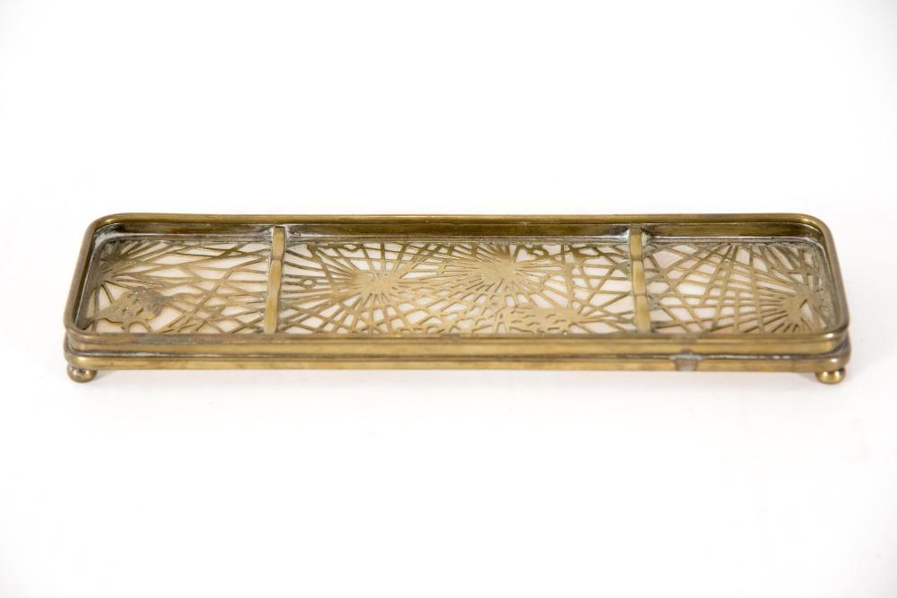 Tiffany Studios Pine Needle Pattern Pen Tray 9 3/4 x 3 inches