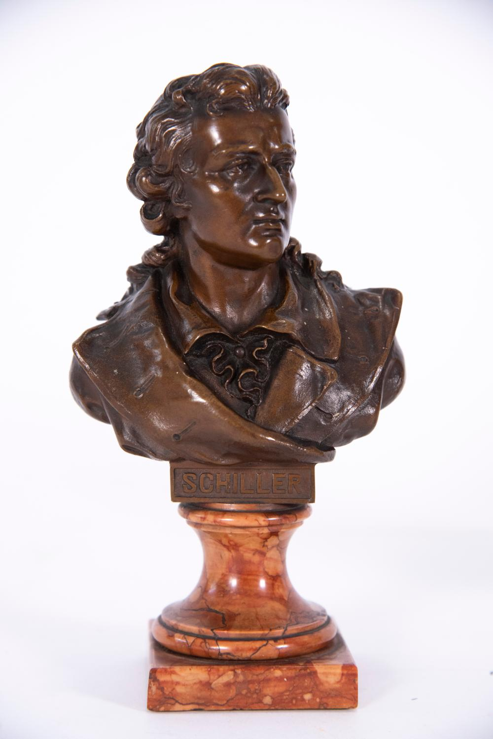 Pair of Small Bronze Busts, Goethe and Schiller