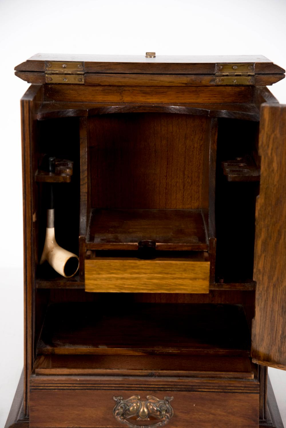 Antique English Pipe and Tobacco Cabinet 15 1/2 x 11 x 7 1/2 inches