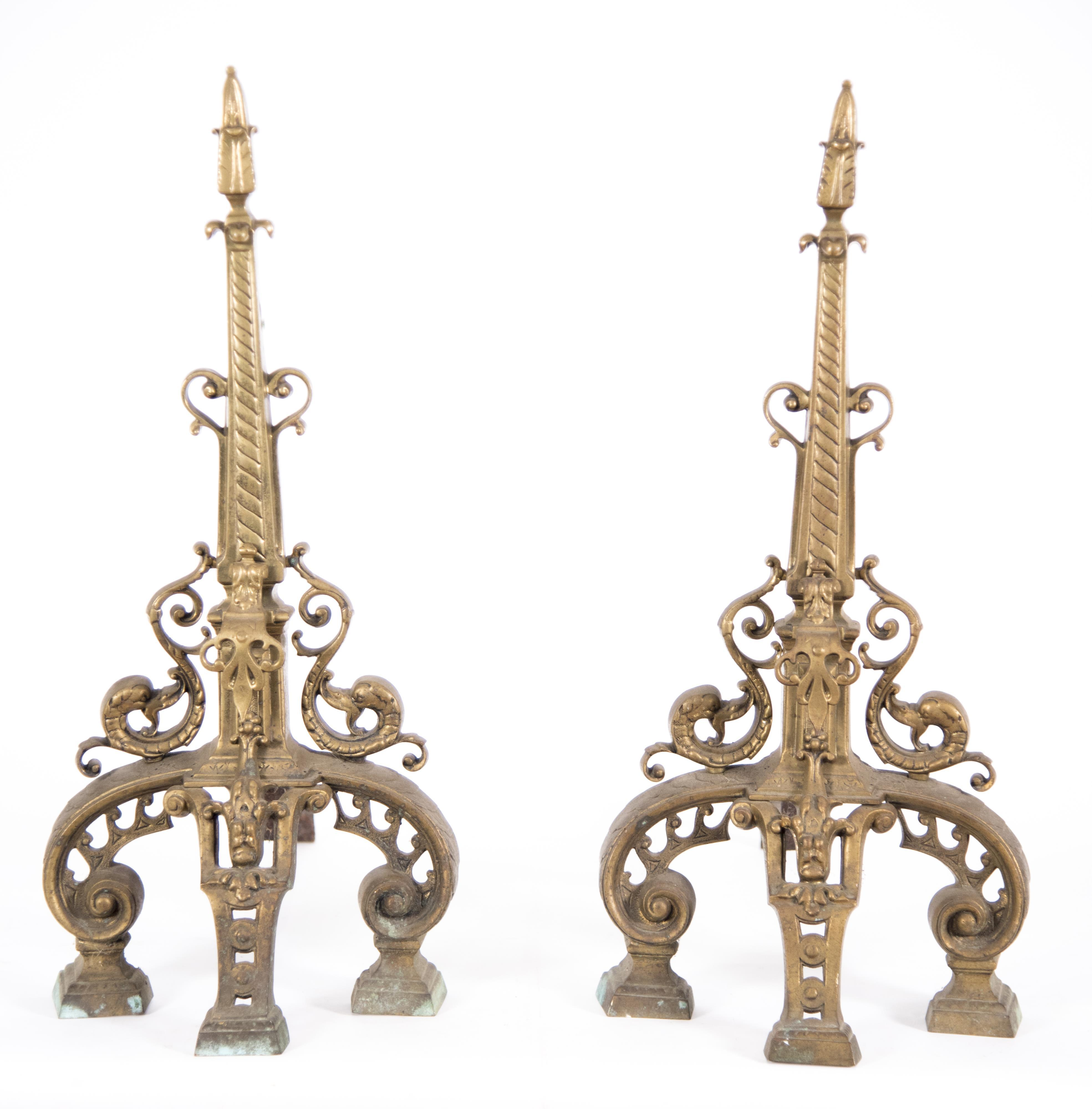 Pair of French Bronze Chenets 28 inches in height