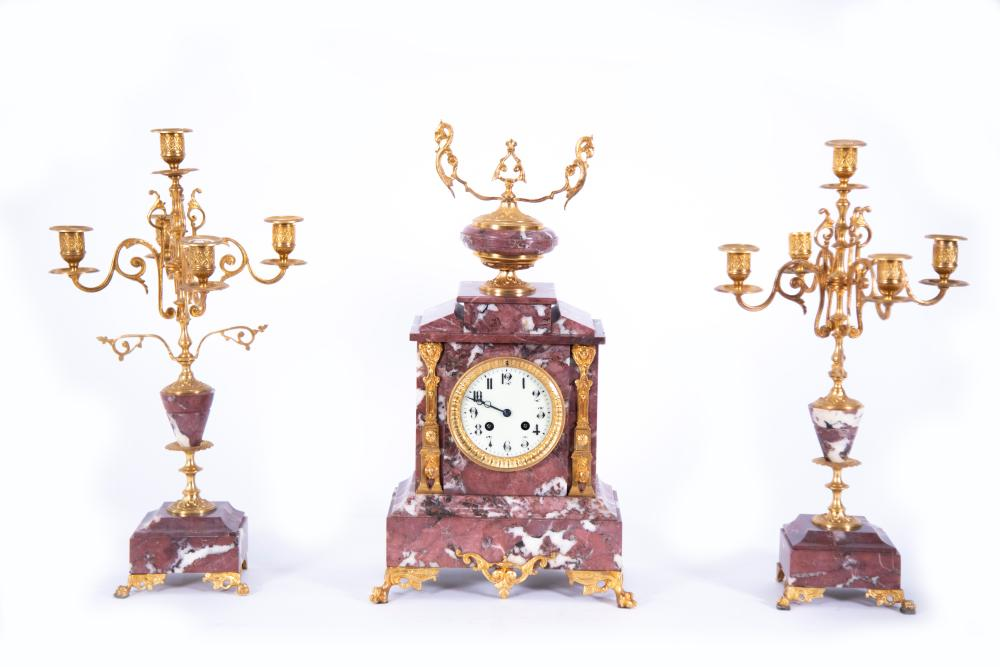 Antique French Japy Freres Mantel Clock and Candelabra