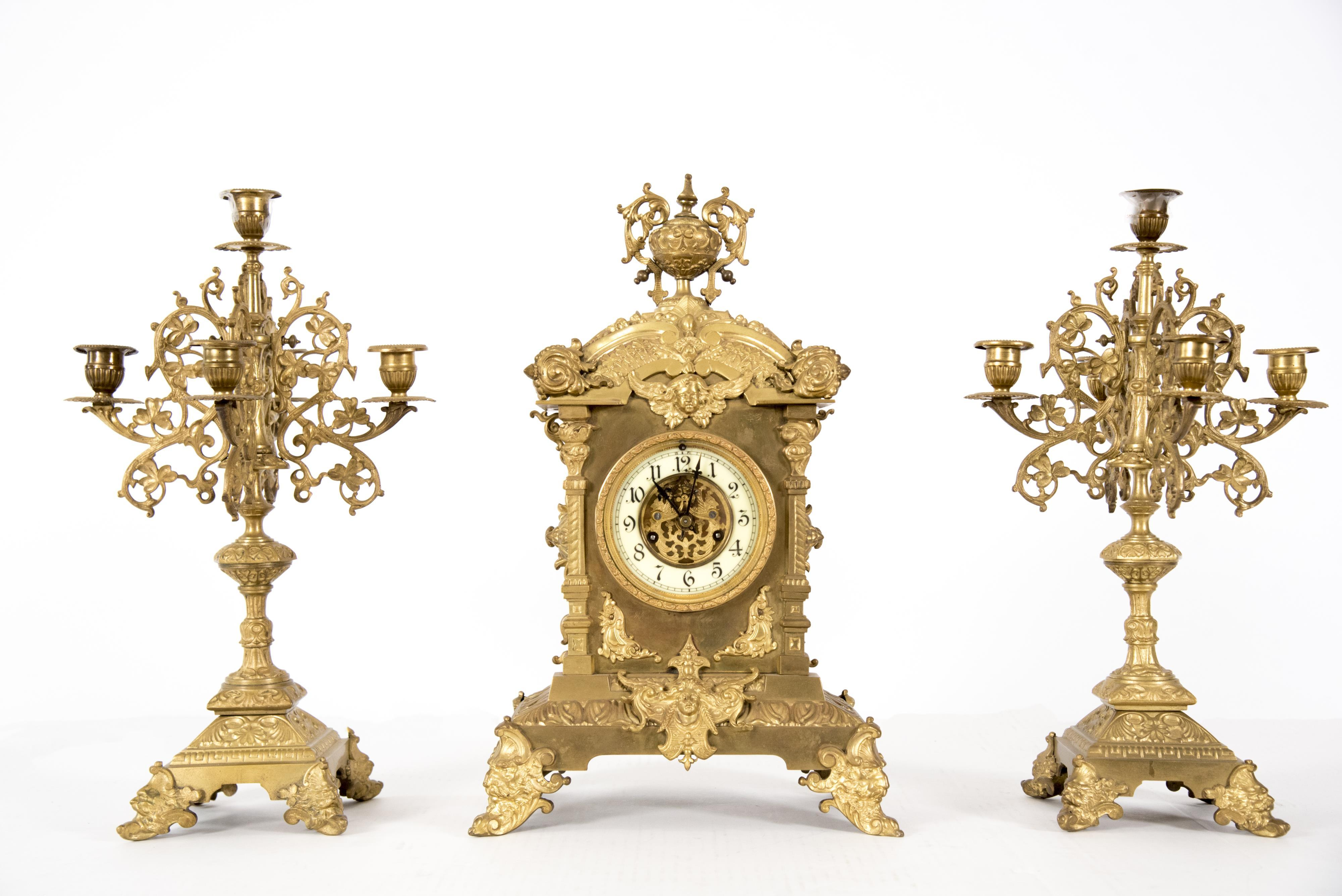 A Waterbury Mantel Clock with Candelabra, 3 Pcs