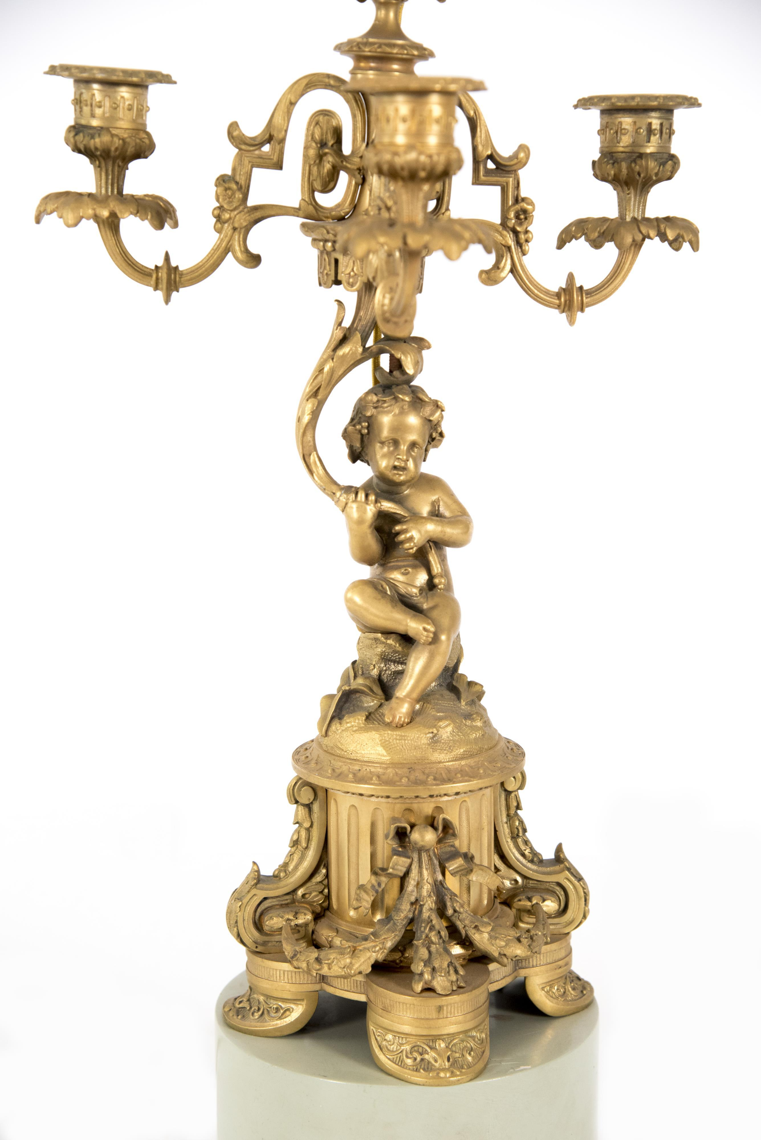 Pair of Figural Bronze Candelabra, Mounted as Lamps
